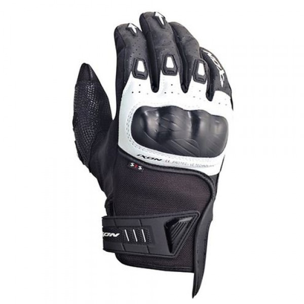 Ixon Rs Burn HP motorcycle Leather Gloves Black White