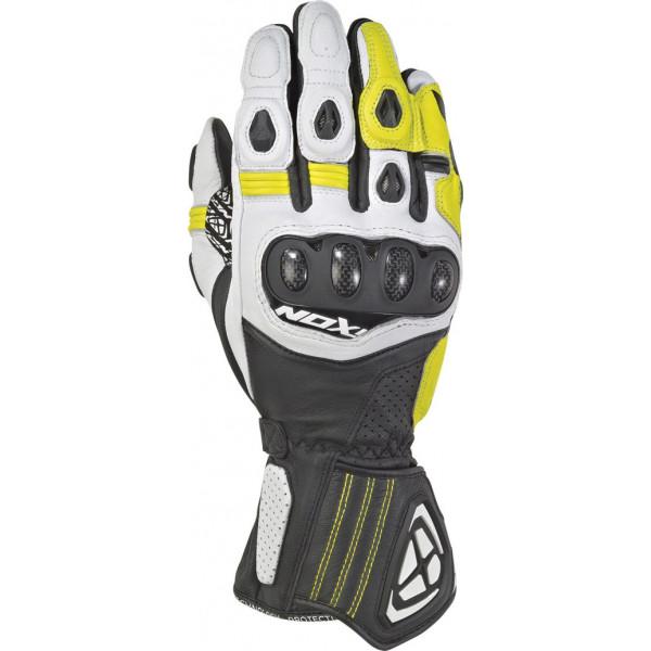 Ixon RS TILT leather gloves Black White Bright Yellow