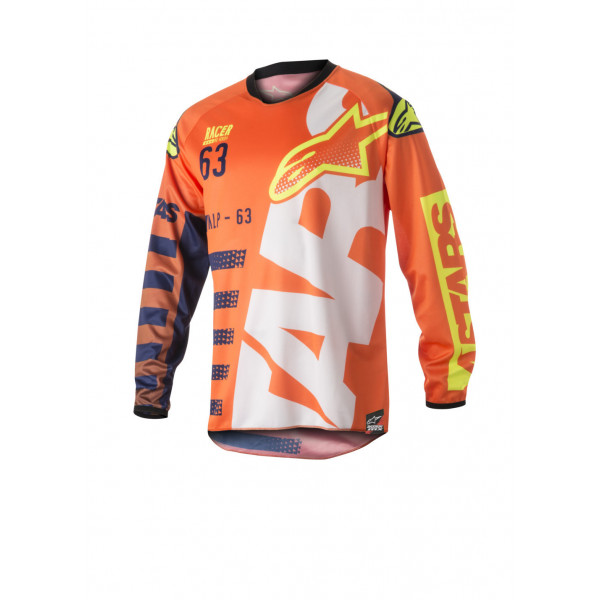 Alpinestars cross jersey Racer Braap fluo orange dark blue white
