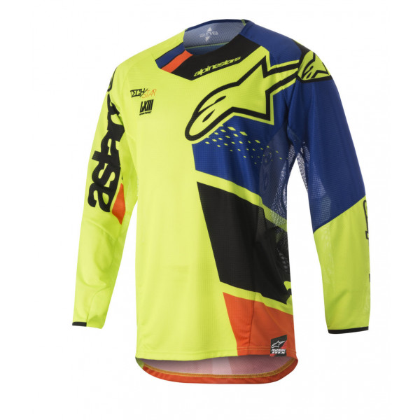 Alpinestars cross jersey Techstar Factory yellow blue black orange