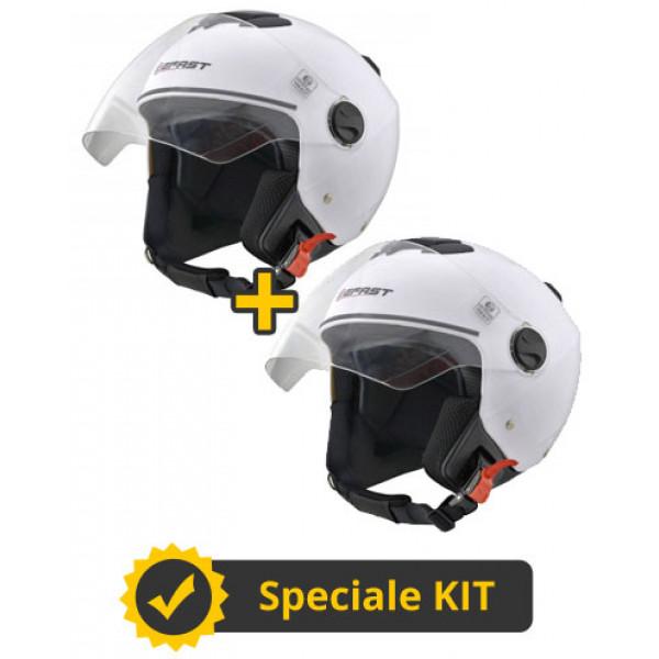 Kit Midi J bianco lucido - Coppia caschi jet Befast Midi J