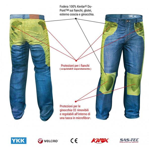 Jeans moto Motto Gallante Raw con rinforzi in Kevlar blu