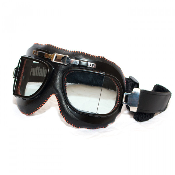 Vittaco Baruffaldi motorcycle goggles Black orange leather