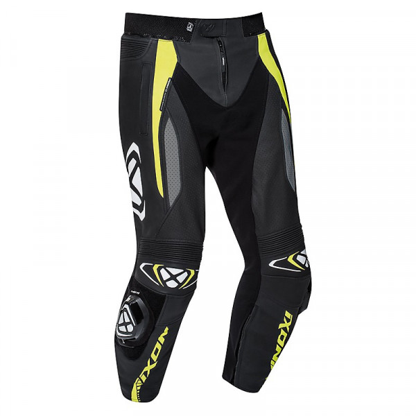 Ixon VORTEX 2 summer leather trousers Black Grey Bright Yellow
