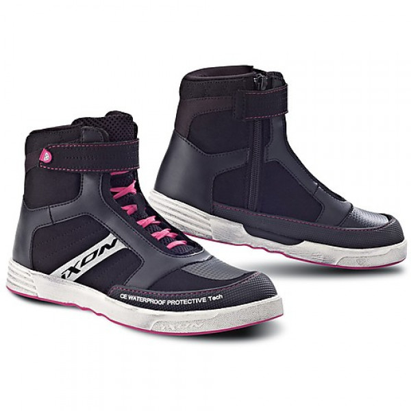 Ixon SLACK motorcycle Lady Shoes Black Fuchsia