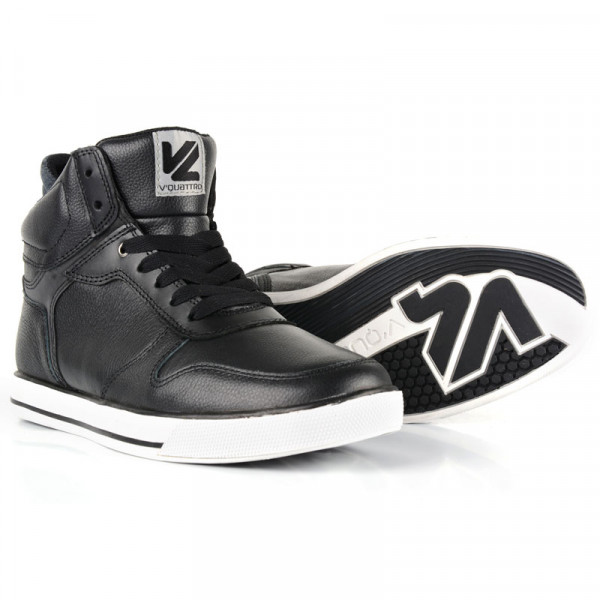 VQuattro Cult leather motorcycle shoes Black