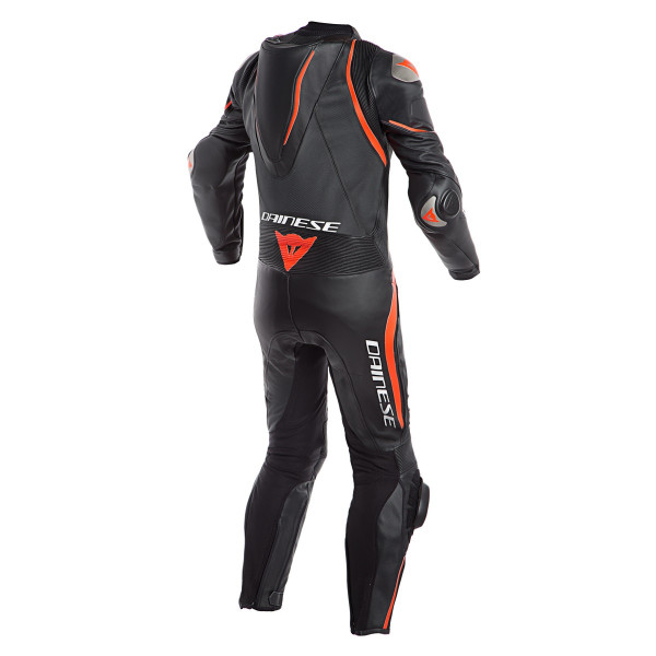 Dainese LAGUNA SECA 4 LADY leather full suit perforated black black fluo red