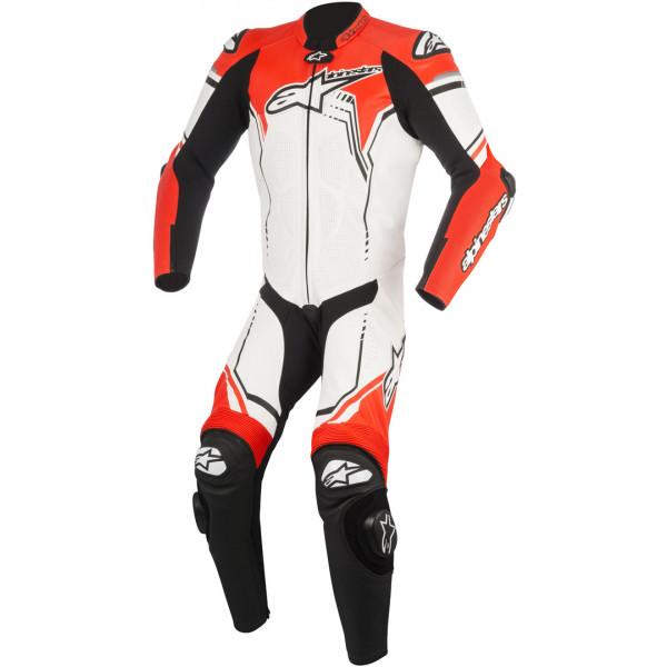 Alpinestars leather suit GP Plus V2 white black fluo red