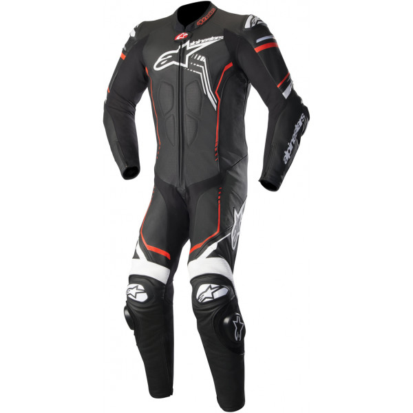 Alpinestars leather suit GP Plus V2 black white fluo red