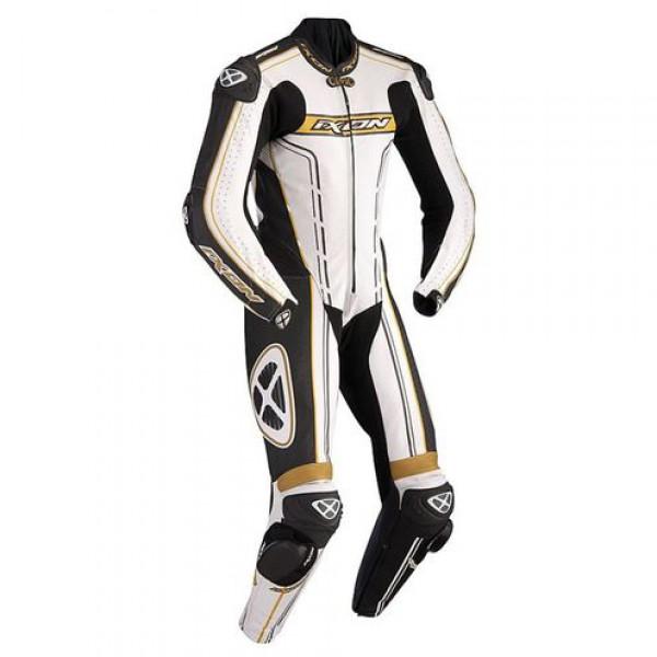 Ixon Zenith summer motorcycle Kangaroo Leather Suit Black White Gold