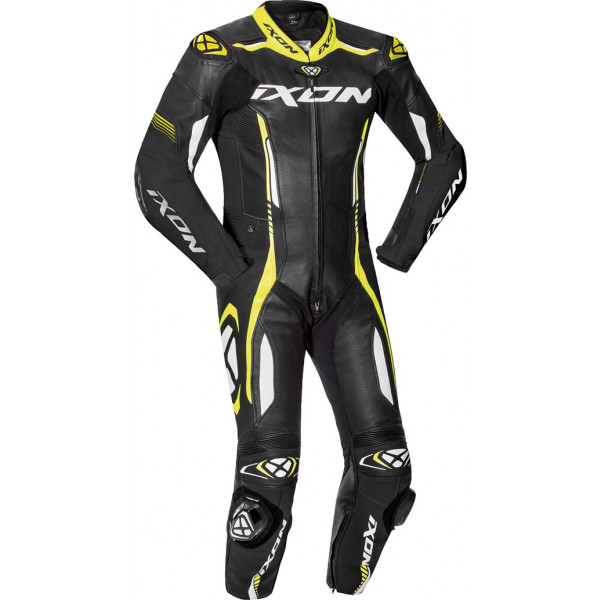 Ixon VORTEX 2 summer leather suit Black White Bright Yellow