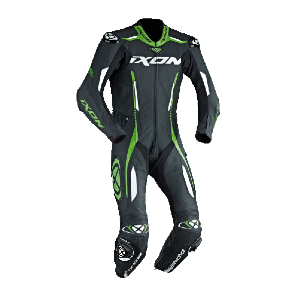 Ixon leather suit Vortex black white green