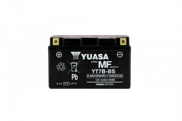 Yuasa battery YT7B-BS X6 AGM - 12v 6.5ah - L 150mm W 65mm H 92mm - with acid