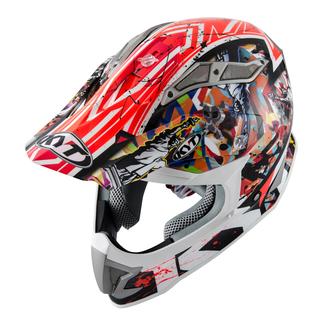 KYT cross helmet Strike Eagle New York fiber red fluo