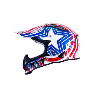 KYT cross helmet Strike Eagle Patriot fiber blue red