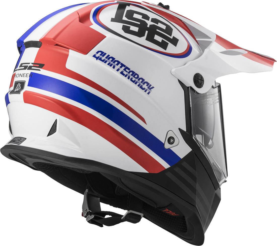 c4c738d5dc7 LS2 cross helmet MX436 Pioneer Quarterback White Red Blue