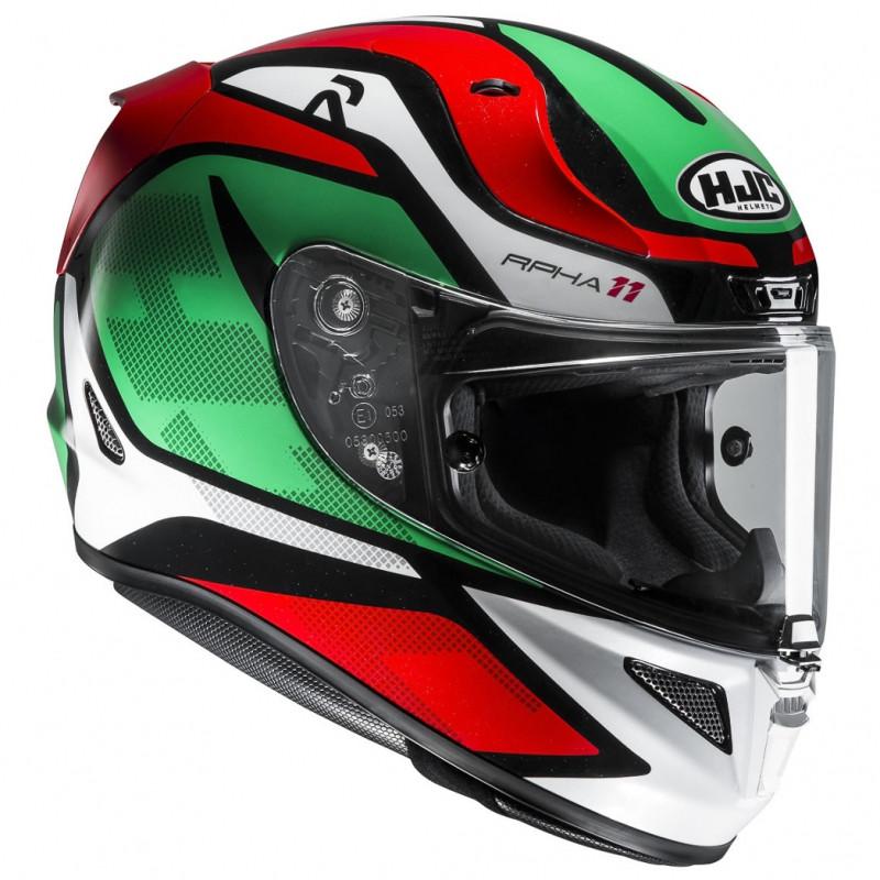 Hjc Rpha 11 >> Hjc Rpha 11 Deroka Fiber Full Face Helmet Mc4 Green Red White