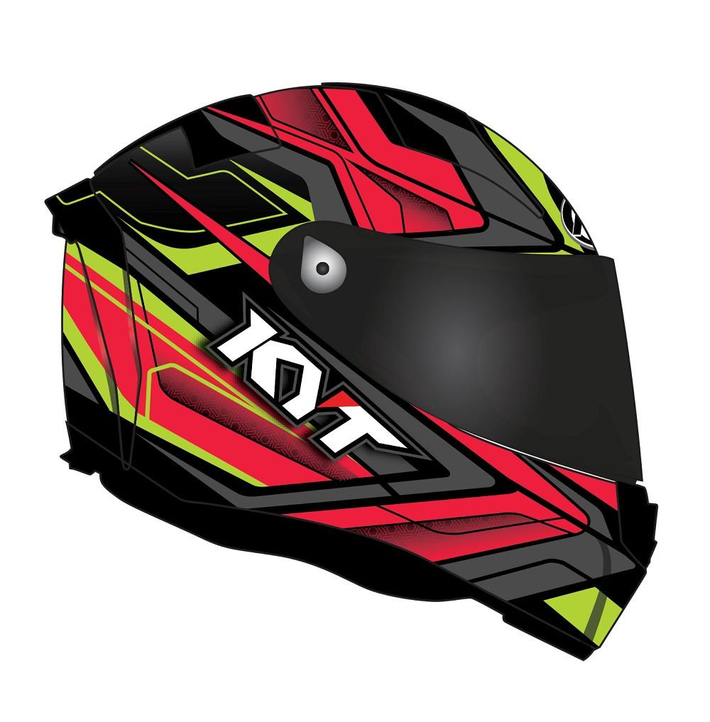 KYT Full Face Helmet Thunderflash Bolt Fiber Red Yellow