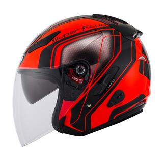 KYT jet helmet Hellcat Superfluo red