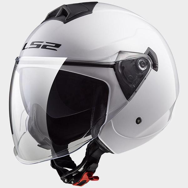 LS2 OF573 Twister jet helmet double visor white