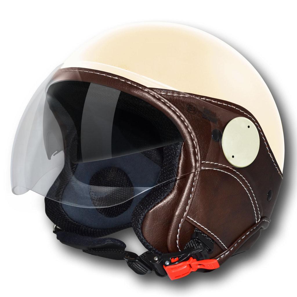 LS jet helmet Trendy Vision Double Visor cream dark brown