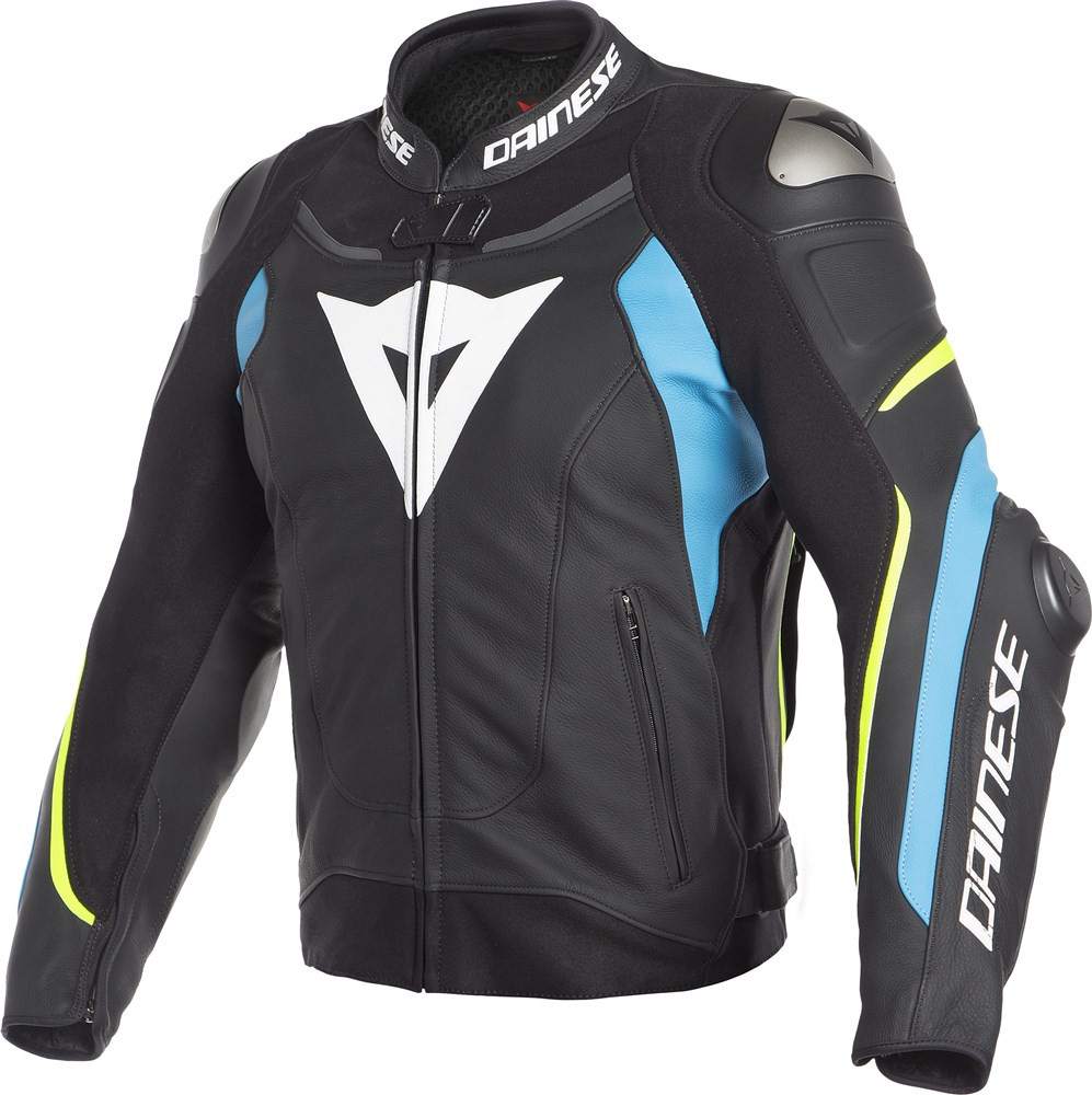 e183912ed6 Dainese SUPER SPEED 3 leather jacket Black Fire Blue Fluo Yellow