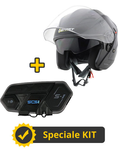 Kit Top J SCS - Casco jet Befast Top J nero lucido + Interfono Bluetooth singolo SCS S1