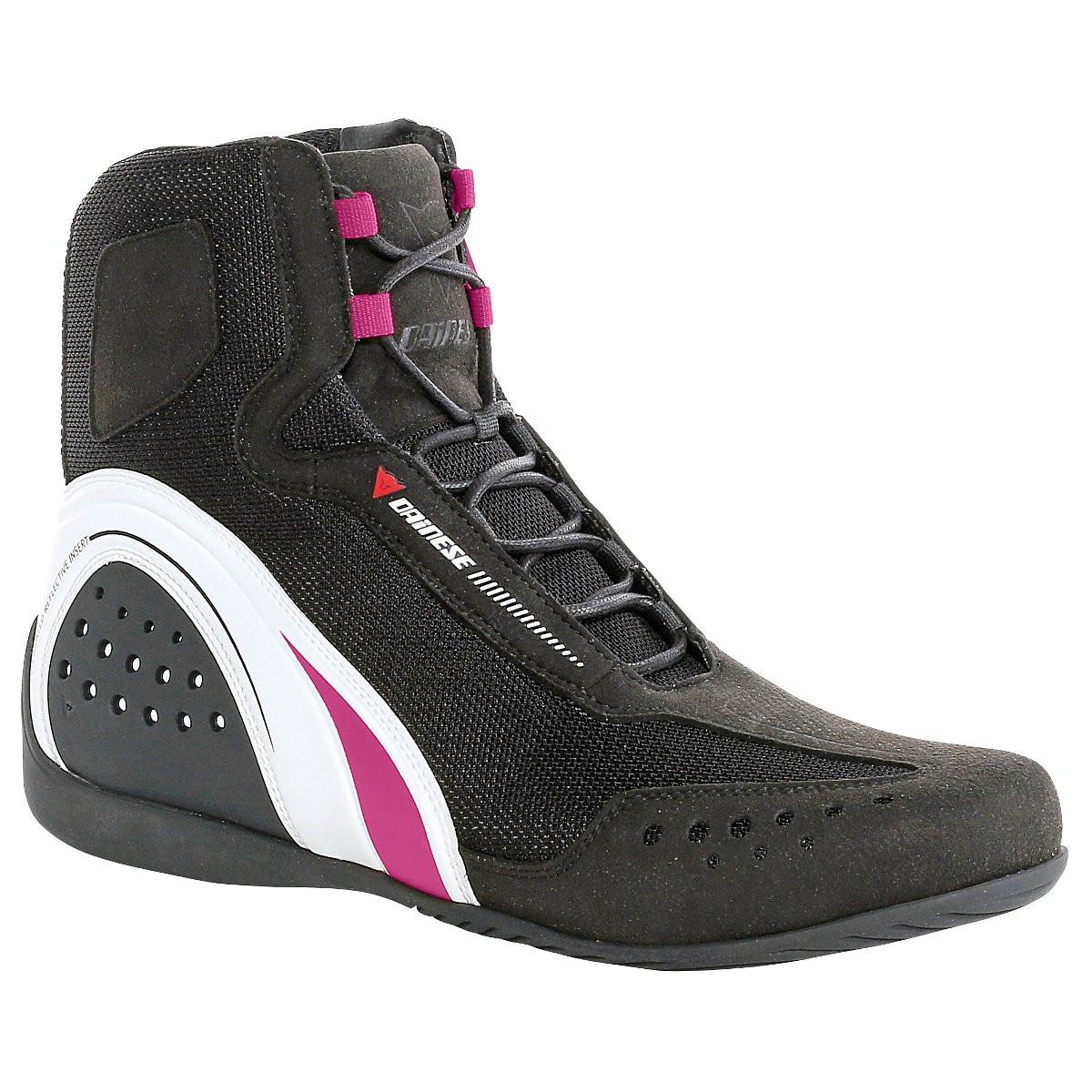 Dainese Motorshoe Air JB woman shoes Black White Fuchsia