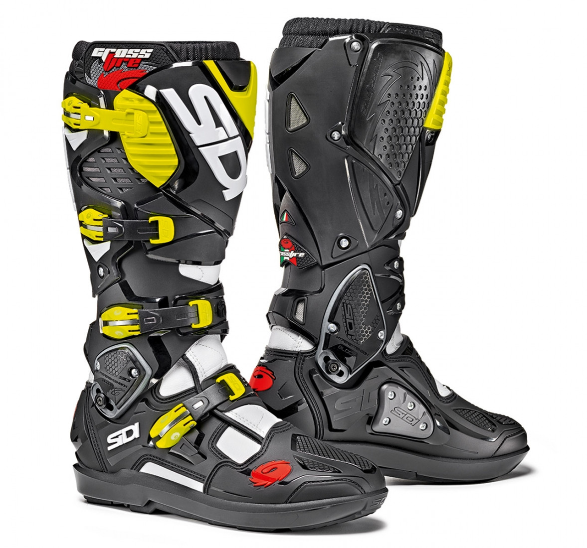 Sidi Crossfire 3 SRS offroad boots white black yellow fluo