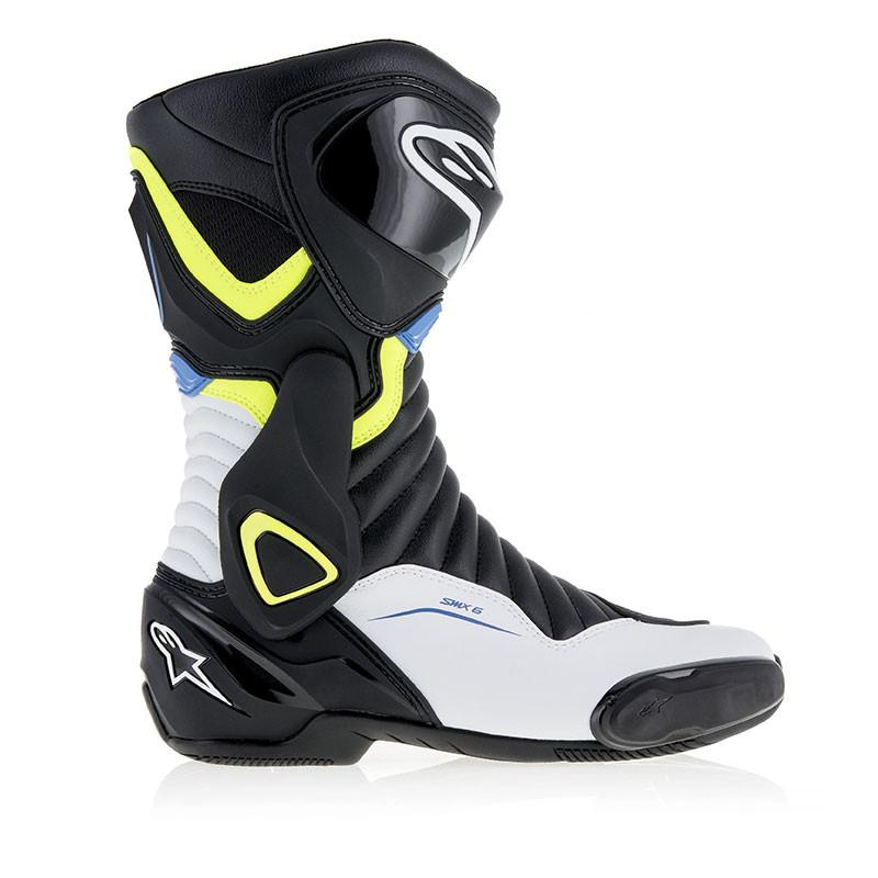 Alpinestars SMX6 V2 racing boots Black White Yellow Blue