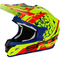Scorpion Vx 15 Evo Air Kistune off road helmet Black Blue fluo Red