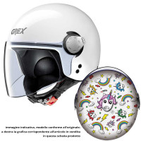 Grex G1.1 ARTWORK kid jet helmet Unicorn White Multicolor