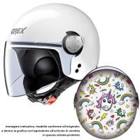 Grex G1.1 ARTWORK kid jet helmet Unicorn White Multicolor