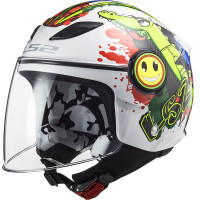 LS2 OF602 FUNNY CROCO GLOSS WHITE kid jet helmet