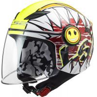 LS2 OF602 FUNNY CRUNCH WHITE HI Vis YELLOW kid jet helmet