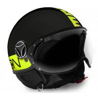 Momo Design jet helmet Fighter Fluo 21 matt black yellow fluo