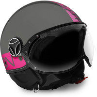 Momo Design jet helmet Fighter Fluo glossy grey fuxia fluo