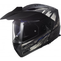 LS2 FF324 METRO BUZZ MATT BLACK TITANIUM BLUE flip up helmet