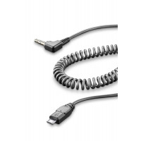 Cellular Line Coiled cable with micro USB and 3.5 mm jack for Tour Sport Urban Interphones
