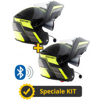 Kit Connect Black Yellow - 2 flip up helmets Befast Connect with integrated intercom