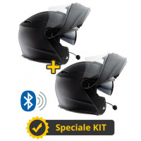Kit Connect Black - 2 flip up helmets Befast Connect with integrated intercom