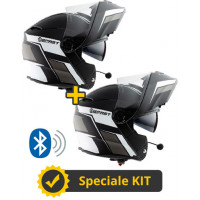 Kit Connect Black White - 2 flip up helmets Befast Connect with integrated intercom