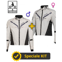 Kit Coppia Gamma CE Grigio - Giacca moto Certificata Befast uomo + donna