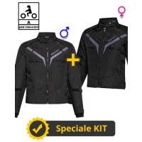 Kit Coppia Gamma CE Nero - Giacca moto Certificata Befast uomo + donna
