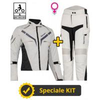 Kit Gamma Lady CE Grigio - Giacca moto donna certificata Befast + Pantaloni moto donna certificati Befast