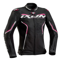 Ixon TRINITY woman leather jacket Black White Fuchsia
