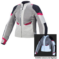 Macna Event Ladies summer woman touring jacket Light grey night eye/Black/Pink