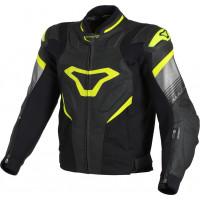Macna Ripper leather summer jacket Black Neon yellow