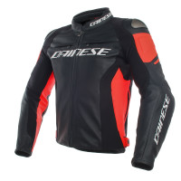 Dainese RACING 3 leather jacket black black fluo red