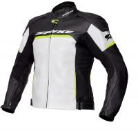 Spyke IMOLA EVO 2.0 leather jacket White Black Fluo Yellow
